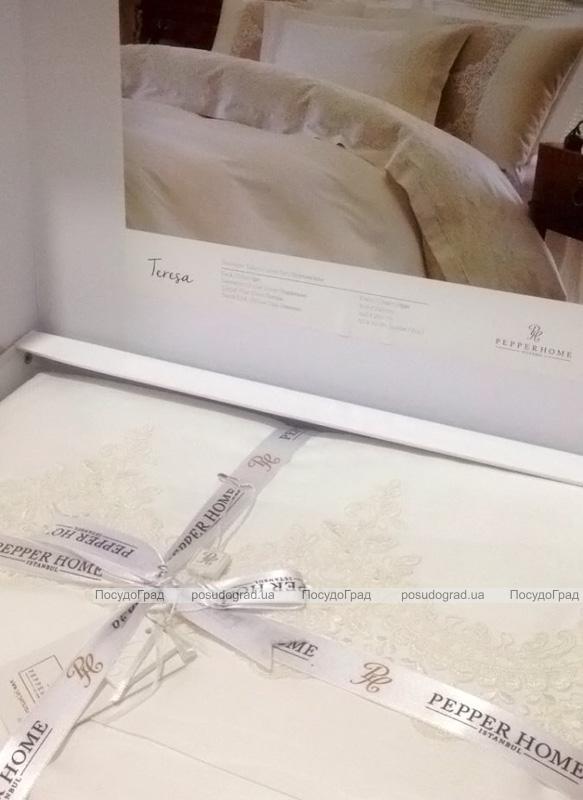 Комплект постельного белья Pepper Home Teresa Crem (евро) сатин с вышивкой и гипюром