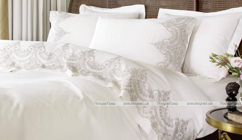 Комплект постельного белья Pepper Home Romance Krem (евро) сатин с вышивкой и гипюром