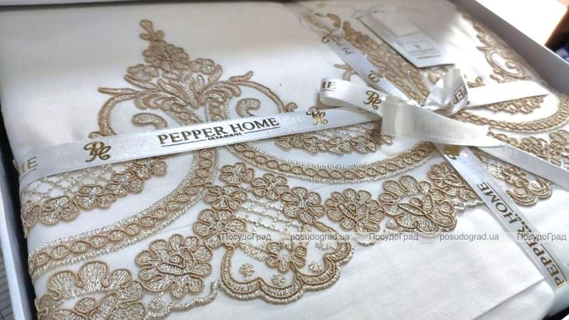 Комплект постельного белья Pepper Home Romance Gold (евро) сатин с вышивкой и гипюром