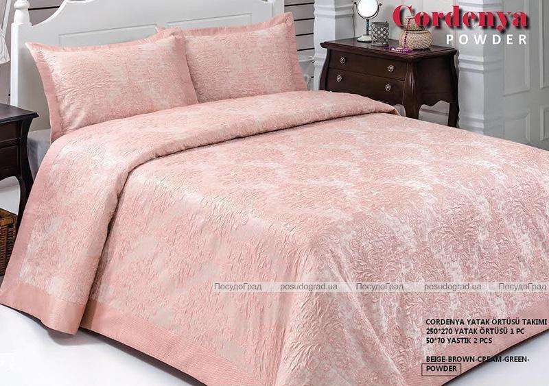 Жаккардовое покрывало ISSI home Cordenya 250х270см с 2 наволочками 50х70см, розовое