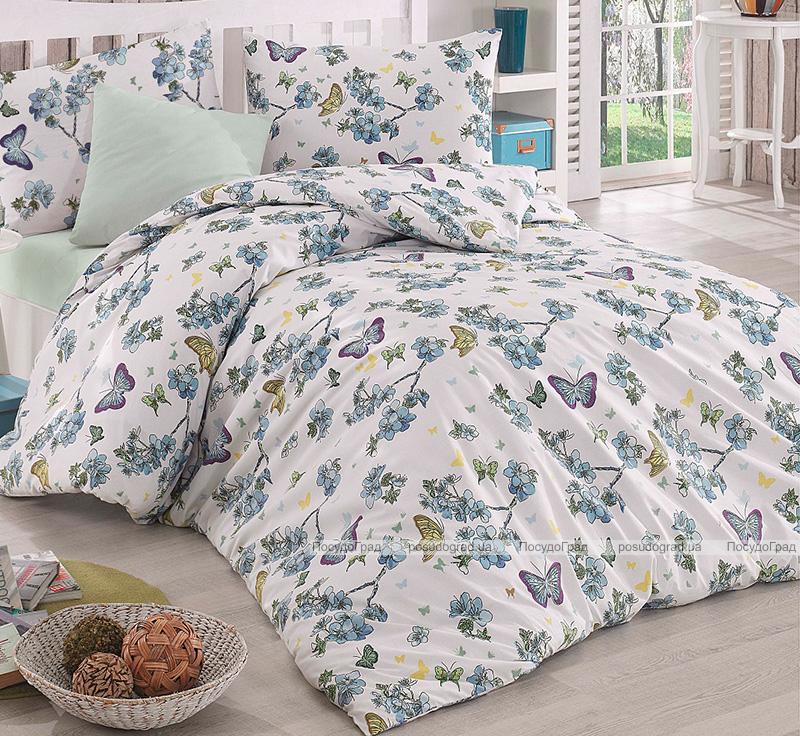 Комплект постельного белья Altinbasak Butterfly Mavi Евро, ранфорс