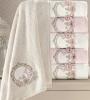 Набор 6 полотенец Pupilla Hayal 3D с вышивкой 70х140см (банные), бамбук
