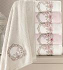 Набор 6 полотенец Pupilla Hayal 3D с вышивкой 50х90см (лицевые), бамбук