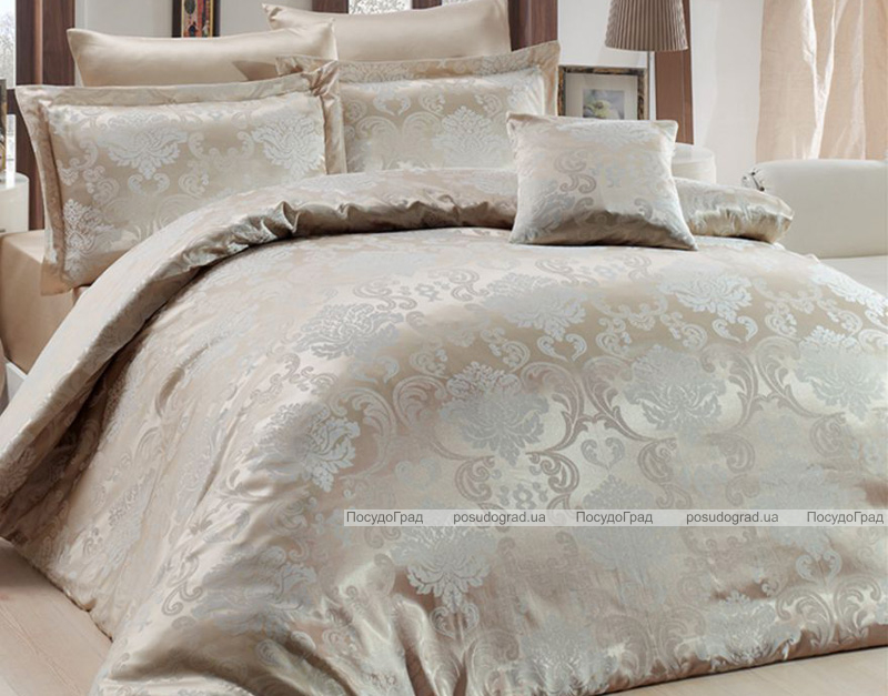 Комплект постельного белья Nazenin Lisa Bej Евро (4 наволочки), жаккардовый сатин