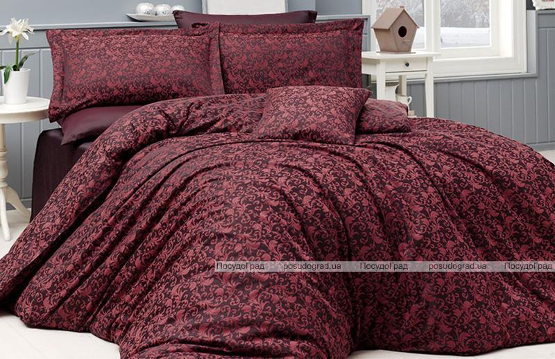 Комплект постельного белья Nazenin Serena Red Евро (4 наволочки) красный, жаккардовый сатин
