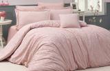 Комплект постільної білизни Nazenin Serena Pudra Євро (4 наволочки) рожевий, жакардовий сатин