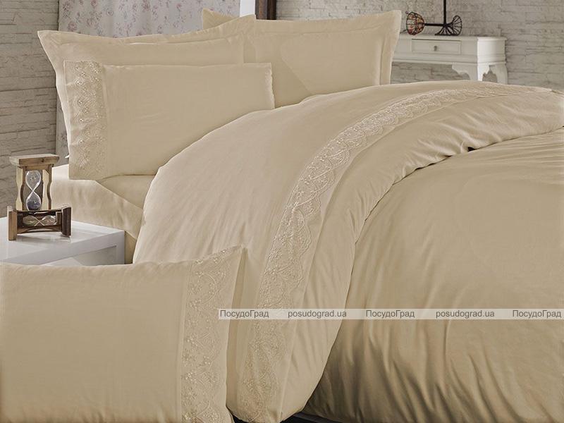Комплект постельного белья Nazenin Sare Cappuccino Евро (4 наволочки), сатин с кружевом