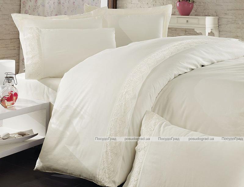 Комплект постельного белья Nazenin Sare Krem Евро (4 наволочки), сатин с кружевом