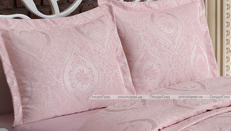 Жакардове покривало Nazenin Rose 240х260см з 2 наволочками 55х80см, рожеве