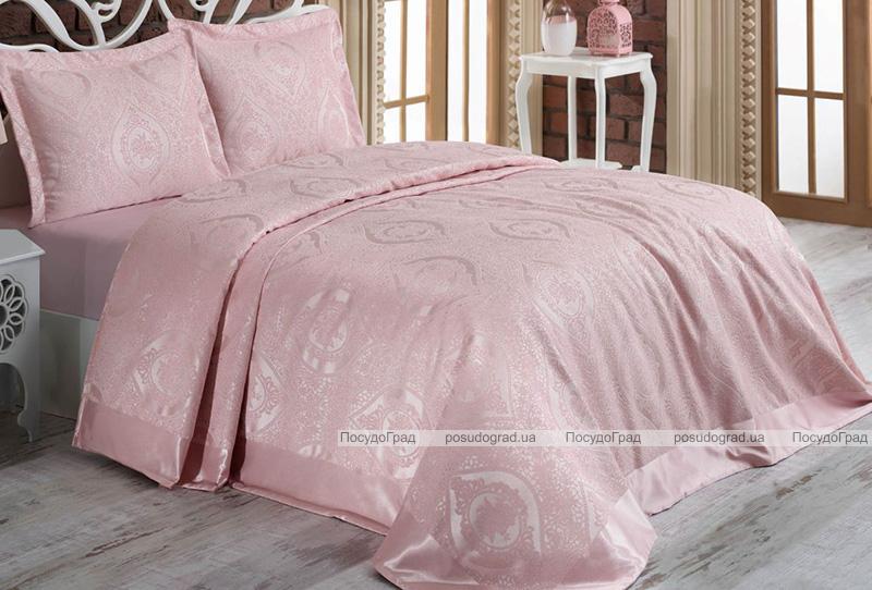 Жаккардовое покрывало Nazenin Rose 240х260см с 2 наволочками 55х80см, розовое