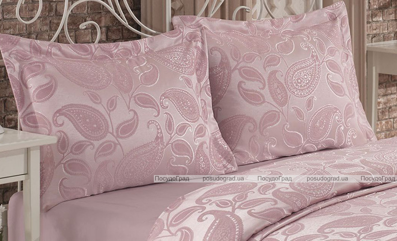 Жаккардовое покрывало Nazenin Shal 240х260см с 2 наволочками 55х80см, розовое