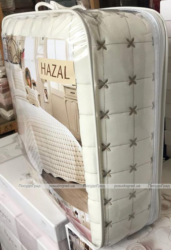 Стьобане покривало Istanbul Hazal 250х260см з наволочками молочне, котон (100% бавовна)