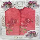 Набір 2 махрових рушника Sweet Dreams Гіацинт (50х90 та 70х140см) коралове з вишивкою