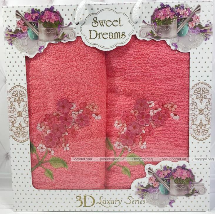 Набор 2 махровых полотенца Sweet Dreams Гиацинт (50х90 и 70х140см) коралловое с вышивкой