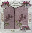 Набор 2 махровых полотенца Sweet Dreams Гиацинт (50х90 и 70х140см) сиреневое с вышивкой