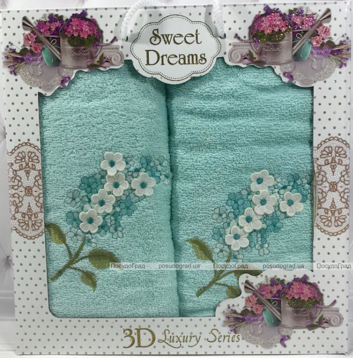 Набір 2 махрових рушника Sweet Dreams Гіацинт (50х90 та 70х140см) блакитне з вишивкою