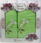 Набор 2 махровых полотенца Sweet Dreams Гиацинт (50х90 и 70х140см) салатовое с вышивкой