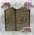 Набір 2 махрових рушника Sweet Dreams Гіацинт (50х90 та 70х140см) бежеве з вишивкою