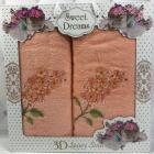 Набір 2 махрових рушника Sweet Dreams Гіацинт (50х90 та 70х140см) персикове з вишивкою