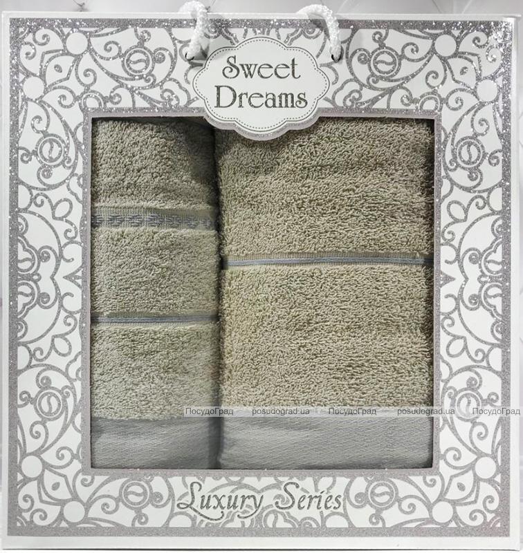 Набор 2 махровых полотенца Sweet Dreams M3 (50х90 и 70х140см) зеленые