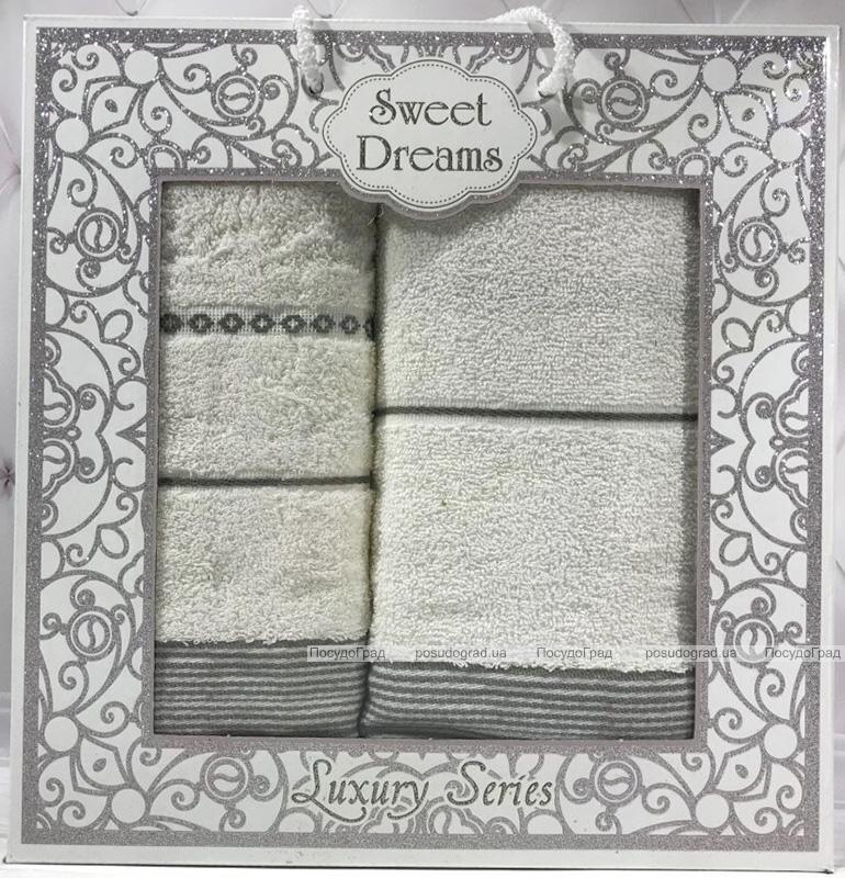 Набор 2 махровых полотенца Sweet Dreams M3 (50х90 и 70х140см) молочные