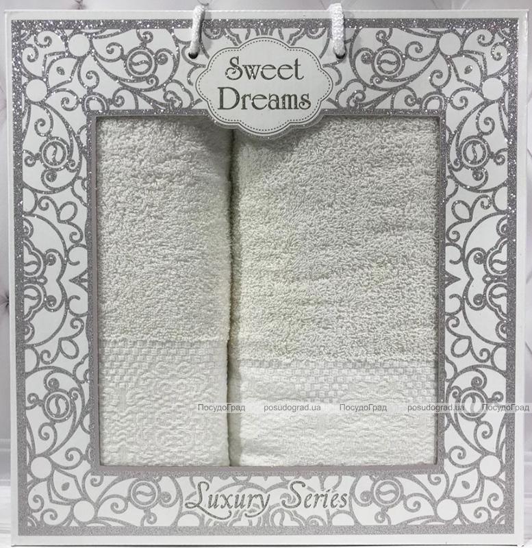 Набір 2 махрових рушника Sweet Dreams M5 (50х90 та 70х140см) молочні