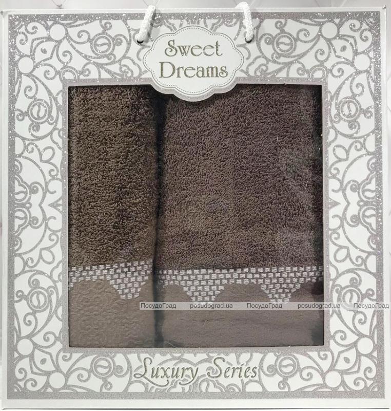 Набір 2 махрових рушника Sweet Dreams M5 (50х90 та 70х140см) коричневі