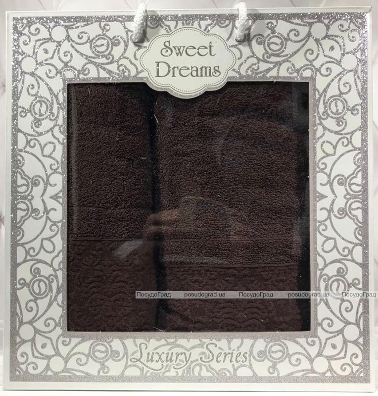 Набор 2 махровых полотенца Sweet Dreams M8 (50х90 и 70х140см) темно-коричневый