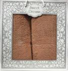 Набор 2 махровых полотенца Sweet Dreams M8 (50х90 и 70х140см) персиковые