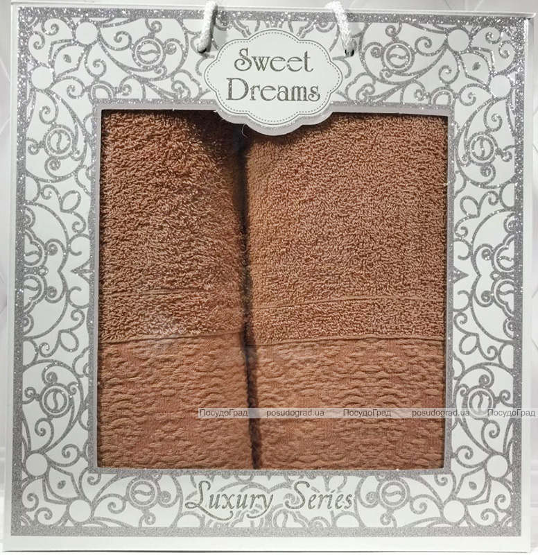 Набір 2 махрових рушника Sweet Dreams M8 (50х90 та 70х140см) персикові