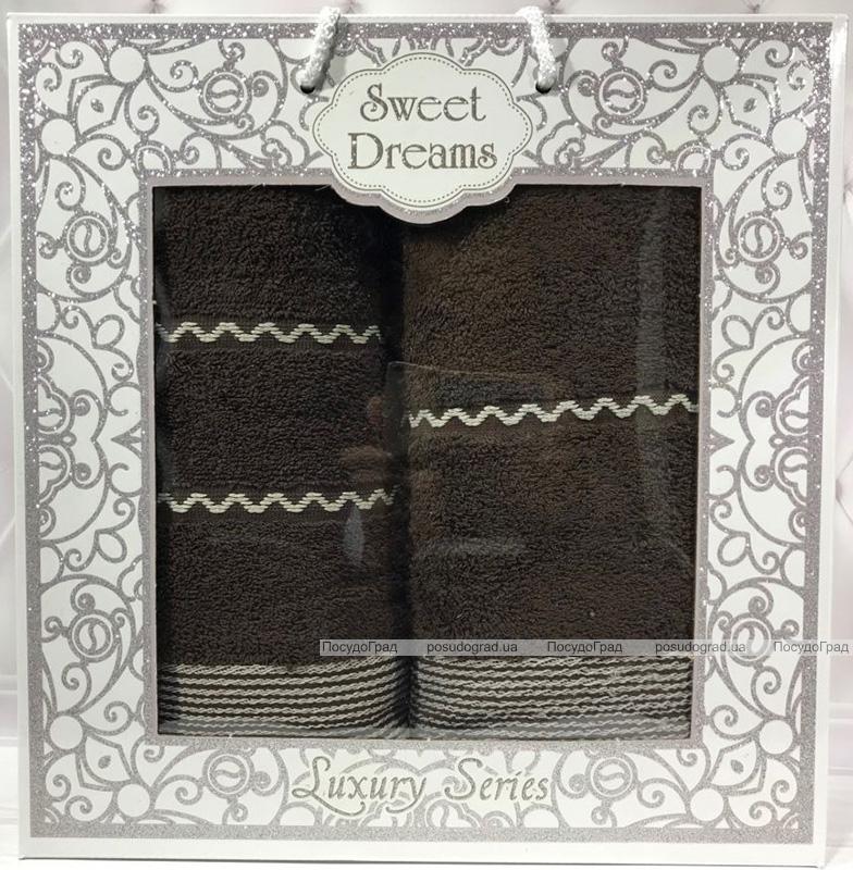 Набір 2 махрових рушника Sweet Dreams M11 (50х90 та 70х140см) коричневі