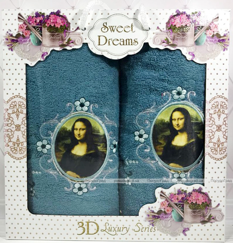 "Набор 2 махровых полотенца Sweet Dreams ""Джоконда"" (50х90 и 70х140см) темно-бирюзовые"
