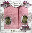 """Набір 2 махрових рушника Sweet Dreams """"Янголята"""" (50х90 та 70х140см) темно-рожеві"""