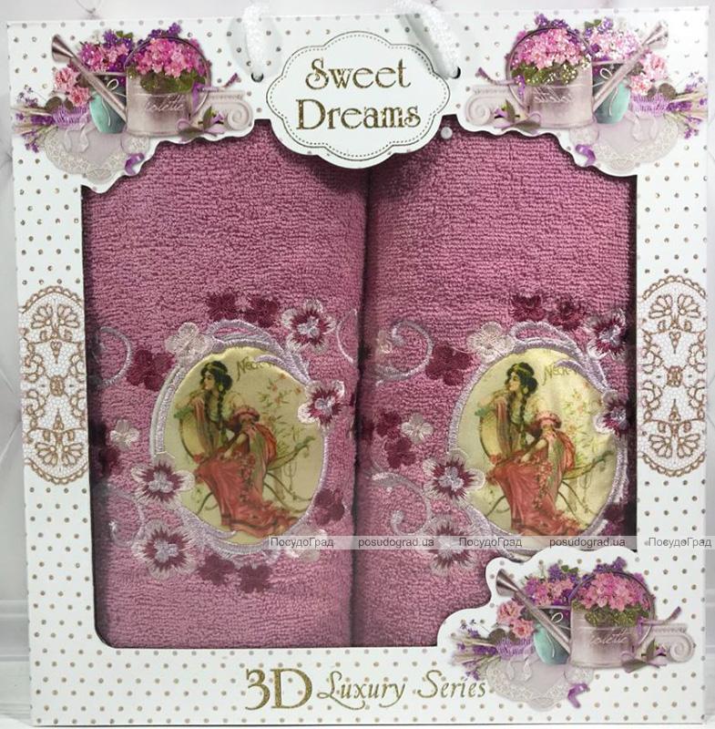 """Набір 2 махрових рушника Sweet Dreams """"Юна Леді"""" (50х90 та 70х140см) бузкові"""