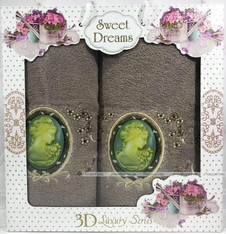 """Набор 2 махровых полотенца Sweet Dreams """"Профиль"""" (50х90 и 70х140см) шоколадные"""