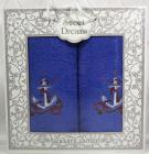 Набір 2 махрових рушника Sweet Dreams M3 (50х90 та 70х140см) сині з вишивкою