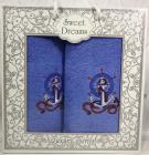 Набір 2 махрових рушника Sweet Dreams M3 (50х90 та 70х140см) світло-сині з вишивкою