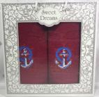 Набір 2 махрових рушника Sweet Dreams M3 (50х90 та 70х140см) червоні з вишивкою