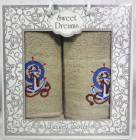 Набір 2 махрових рушника Sweet Dreams M3 (50х90 та 70х140см) бежеві з вишивкою