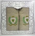 Набор 2 махровых полотенца Sweet Dreams M1 (50х90 и 70х140см) бежевые с вышивкой