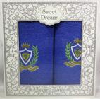 Набор 2 махровых полотенца Sweet Dreams M1 (50х90 и 70х140см) синие с вышивкой