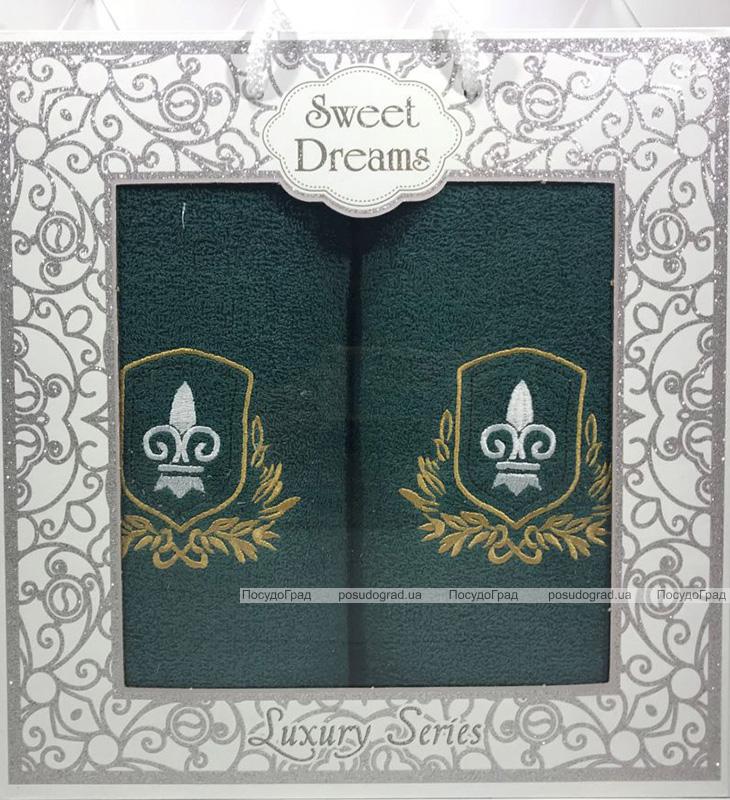 Набір 2 махрових рушника Sweet Dreams M1 (50х90 та 70х140см) зелені з вишивкою
