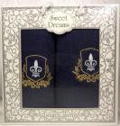 Набір 2 махрових рушника Sweet Dreams M2 (50х90 та 70х140см) темно-сині з вишивкою