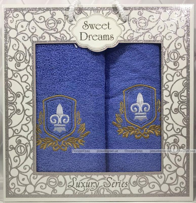 Набір 2 махрових рушника Sweet Dreams M2 (50х90 та 70х140см) світло-сині з вишивкою