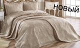 Жаккардовое покрывало ISSI home Cordenya 250х270см с 2 наволочками 50х70см, золотисто-кофейное