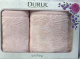 Набор 2 махровых полотенца Durul Shehzade (50х90 и 70х140см) персиковые