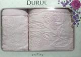 Набор 2 махровых полотенца Durul Padishah (50х90 и 70х140см) розовые