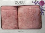 Набор 2 махровых полотенца Durul Padishah (50х90 и 70х140см) персиковые