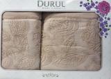 Набор 2 махровых полотенца Durul Padishah (50х90 и 70х140см) бежевые