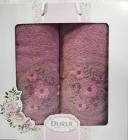 Набор 2 полотенца Durul M3 фиолетовые 3D с вышивкой (50х90 и 70х140см), хлопок